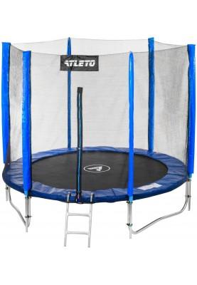 Батут Atleto 252 см Blue с двойными ногами, защитной сеткой и лестницей