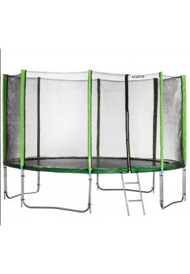 Батут Atleto 404 см Green с двойными ногами, защитной сеткой и лестницей