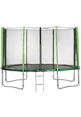 Батут Atleto 435 см Green с двойными ногами, защитной сеткой и лестницей
