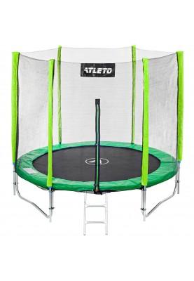Батут Atleto 252 см Green с двойными ногами, защитной сеткой и лестницей