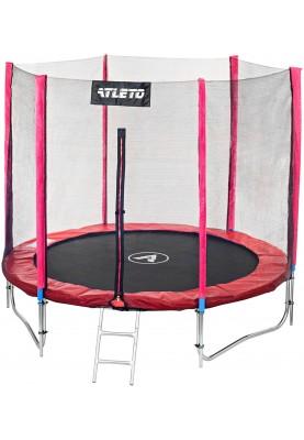 Батут Atleto 252 см Red с двойными ногами, защитной сеткой и лестницей