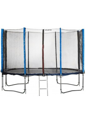 Батут Atleto 404 см Blue с двойными ногами, защитной сеткой и лестницей