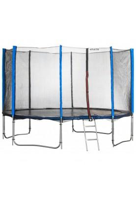 Батут Atleto 435 см Blue с двойными ногами, защитной сеткой и лестницей