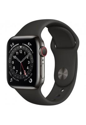 Apple Смарт-часы Apple Watch Series 6 GPS + Cellular 40mm Graphite Stainless Steel Case w. Black Sport B. (M02Y3)
