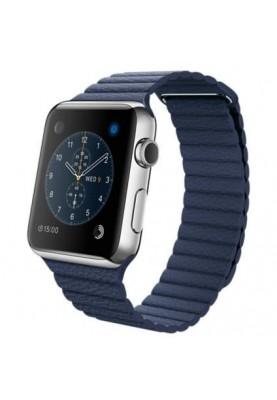 Смарт-часы Apple Watch 42mm Stailnless Steel Case with Midnight Blue Leather Loop (MLFD2)