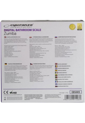 Весы напольные электронные Esperanza Zumba EBS005