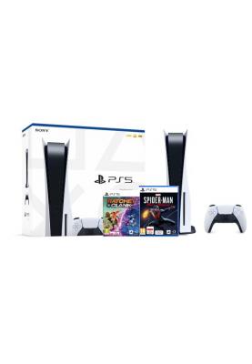 Стационарная игровая приставка Sony PlayStation 5 blue ray + Marvel's Spider-Man: Miles Morales + preorder Ratchet & Clank: Rift Apart