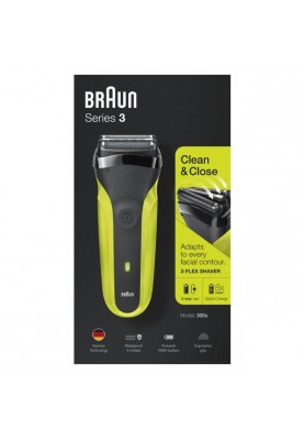 Электробритва мужская Braun Series 3 300s Black/Green