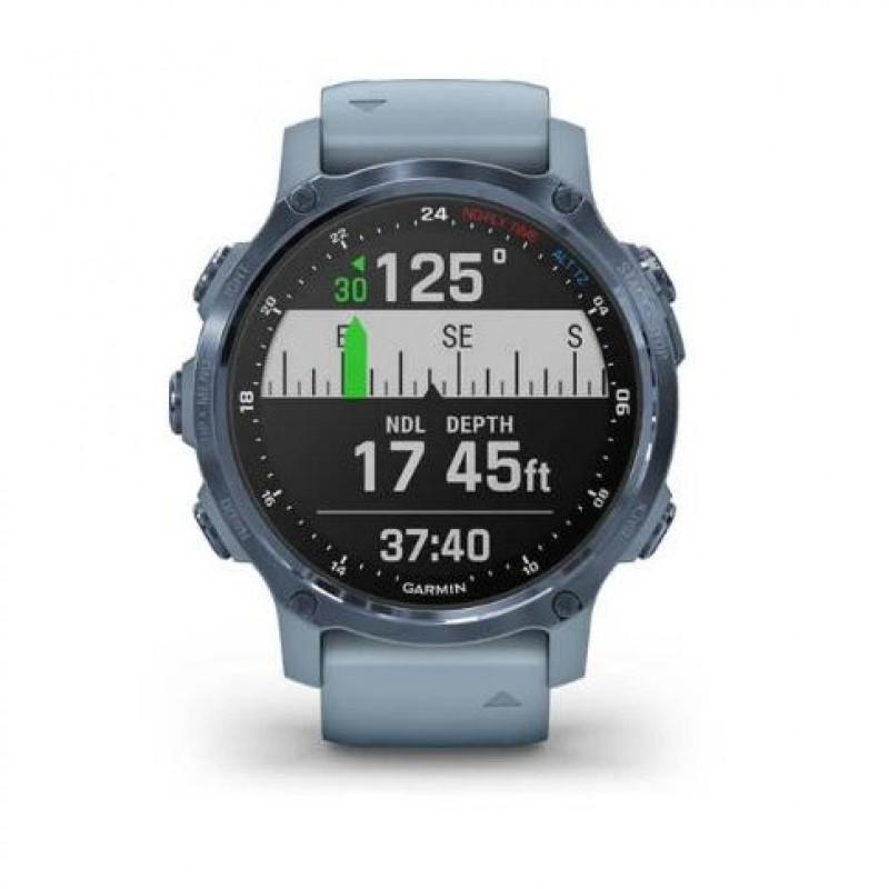 Спортивные часы Garmin Descent Mk2S Mineral Blue with Sea Foam Silicone Band (010-02403-07)